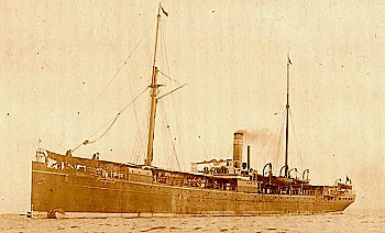 Rajpootana, one of BI's early ships, part of a series of six vessels of about 2,030 tons gross, built in the mid-1870s by Denny of Dumbarton