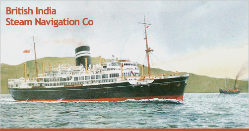 Uganda in her earlier guise: East Africa liner with black hull, and distinguishing tall funnel. From a watercolour by Andrew Dibben (1997) www.andrewdibben.com